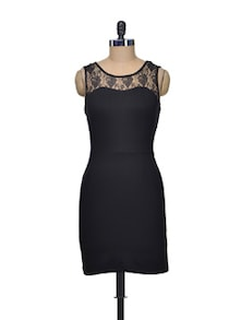 Lace Yoke Bodycon Dress - Besiva