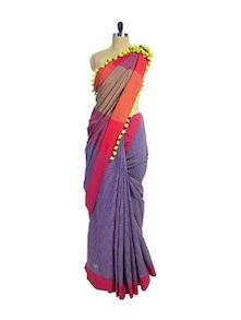 Purple Printed Handwoven Cotton Saree - Spatika Sarees