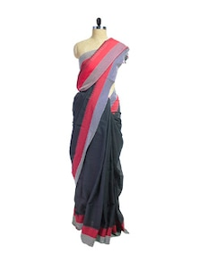 Black Cotton Saree With Jacquard Border - Spatika Sarees