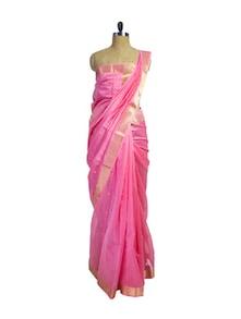 Pink Cotton Silk Maheshwari Saree - Spatika Sarees