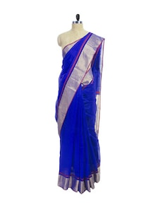Royal Blue Cotton Silk Maheshwari Saree - Spatika Sarees