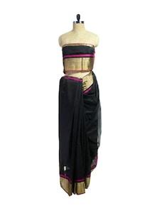 Ethnic Black & Pink Maheshwari Saree - Spatika Sarees