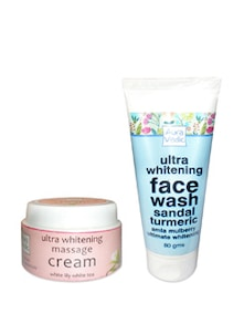 Ultra Whitening Massage Cream & Ultra Whitening Face Wash - Pack Of 2 - Auravedic