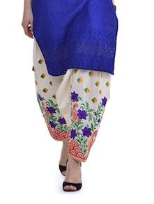 Off-White & Blue Floral Patiala Salwar - Home Of Impression