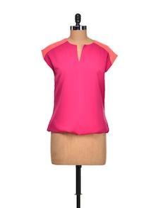 Colourblock Orange And Pink Top - Meira