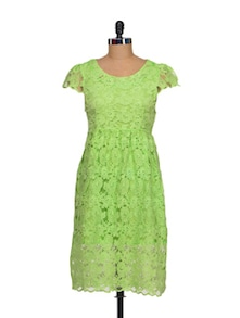 Elegant Green Lace Dress - Sanchey