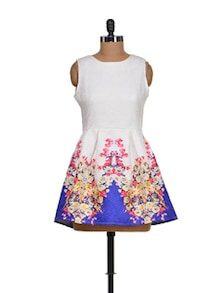White & Blue Floral Mini Dress - Sanchey