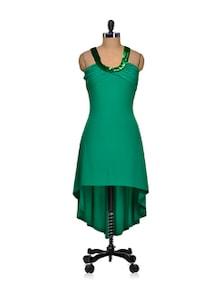 Green Asymmetric Backless Dress - Sanchey
