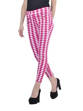 Pink And White Cotton Lycra Trousers - Sanchey