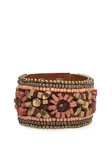Designer Brown Beaded Bracelet - Blueberry