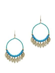 Blue & Gold Dangling Leaf Earrings - Blueberry