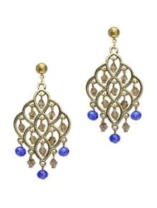 Ethnic Blue & Gold Earrings - Blueberry