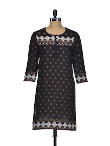 Beautiful Black Cotton Kurti - Indidori