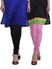 Black & Pink Leggings - Set Of 2 - Tulsattva