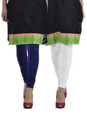Blue & White Leggings - Set Of 2 - Tulsattva