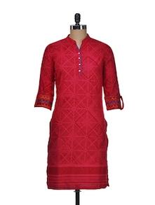 Red Printed Shirt Style Kurta - Tulsattva