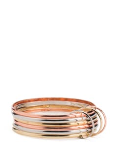 Three Colour Metal Bangle Set With Rings - ALESSIA