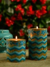 Blue Laheriya Pillar T-Light Holders - Set Of 2 - Wildflower