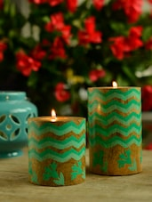 Green Laheriya Pillar T-Light Holder - Set Of 2 - Wildflower