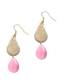 Trendy Golden Earrings With Pink Drop - KSHITIJ