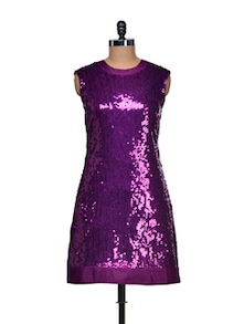 Purple Sequined Party Dress - Bluebery D C