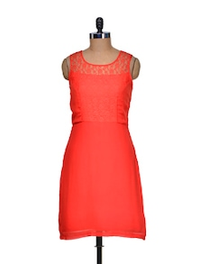 Orange Lace Yoke Dress - Bluebery D C