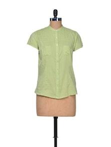 Pistachio Green Cotton Shirt - A Justbe