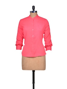 Chic Coral Cotton Shirt - A Justbe