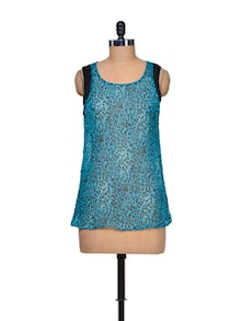 Turquoise Blue Animal Print Top - Mind The Gap