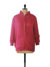 Red Hooded Zip-Up Sweatshirt - Campus Sutra