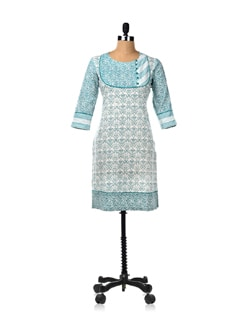 Aqua Fresh Printed Kurta - Cotton Curio