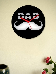 Black Wall Clock With A Moustache - Zeeshaan