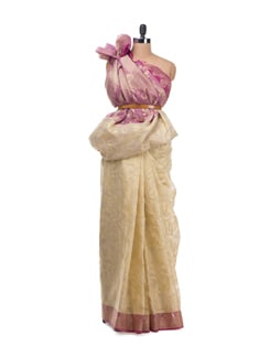 Beige And Rose Paisley Saree With Zari Work - Bunkar
