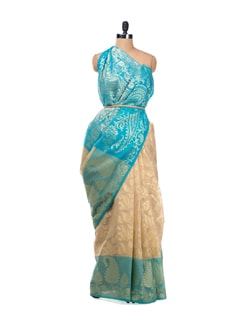 Beige And Blue Paisley Saree With Zari Work - Bunkar