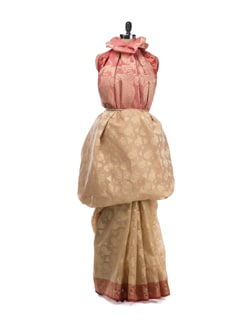 Beige and Pink Saree with Zari Work - Bunkar