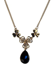 Black Stone Golden Necklace - Addons