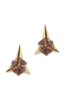 Topaz Cube Stone And Spike Stud Earring - Addons