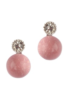 Round Pink Stone And Crystal Stud Earring - Addons