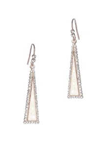 Triangular White Mop With White Diamonds Outline Dangle Earring - Addons