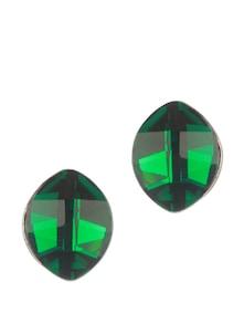 Marquise Shape Emerald Stone With Gunmetal Stud Earring - Addons