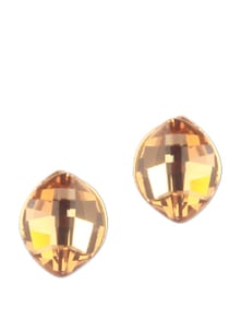Smoked Topaz Stone With Gold Stud Earring - Addons