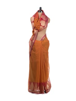 Orange And Pink Cotton Saree With Zari Border - Bunkar
