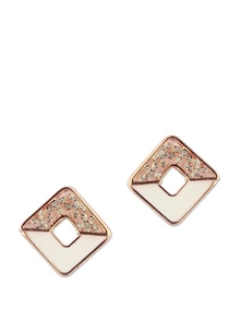 White Square Rose Gold Stud Earrings - Addons