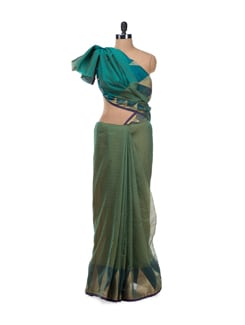 Green Banarasi Saree With Zari Temple Border - Bunkar