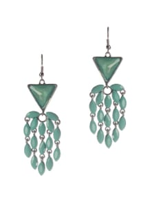 Turquoise Stones Studded Chandelier Earrings - Addons