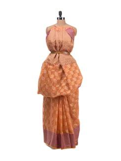 Pretty Peach Saree With Contrast Border - Bunkar