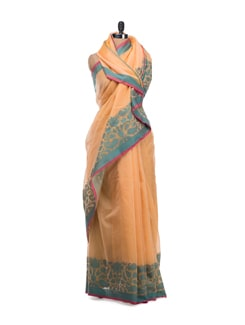 Peach Hued Cotton Saree - Bunkar