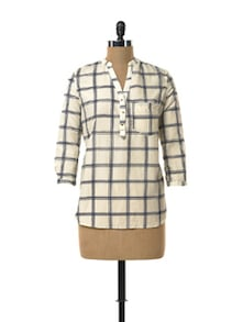 White Shirt In Wide Checks - TREND SHOP