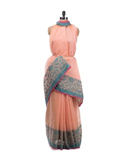 Strawberry Cotton Saree With Contrast Border - Bunkar