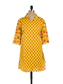 Collared Yellow Kurti With Floral Sleeves - Purab Paschim